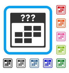 Unknown month calendar grid framed icon vector