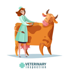 veterinary inspection flat composition vector image