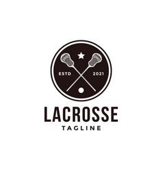 vintage seal badge lacrosse sport logo vector image