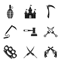 Weapon proficiency icons set simple style vector