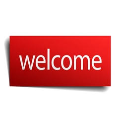 Welcome red square isolated paper sign on white vector