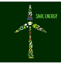 Wind turbine symbol with saving energy flat icons vector image