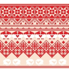 Winter red seamless pattern with sheep pixel vector