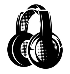 with headphones on white background vector image