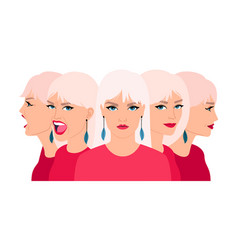 Woman changing mood smiling calm screaming women vector