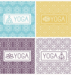 yoga icons and line badges vector image