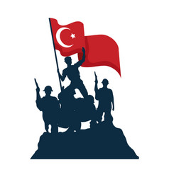Zafer bayrami military soldiers with flag vector