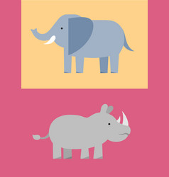 zoo wild animals flat icon set vector image