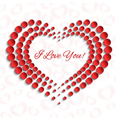 card with red dotted heart peprcut 3d design vector image