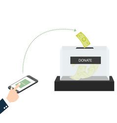 Online mobile donation fundraiser hands holding vector