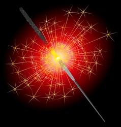 Sparkler on a red-black background vector image vector image