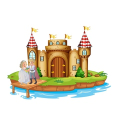 A prince and a princess at the wooden bridge near vector image vector image
