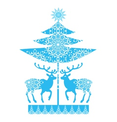 Christmas card snowlakes and deers vector image vector image