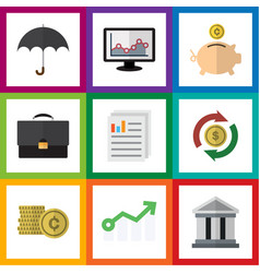 Flat icon gain set of portfolio cash money box vector