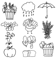 Hand draw thanksgiving element of doodles vector