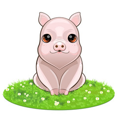 happy smiling little baby pig vector image vector image
