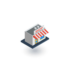 shop building isometric flat icon 3d vector image vector image