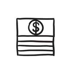 Stack of dollar bills sketch icon vector
