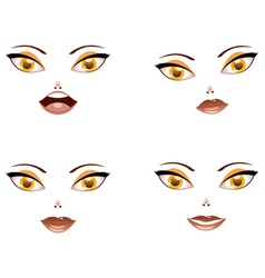 Toon female face with yellow eyes vector image vector image