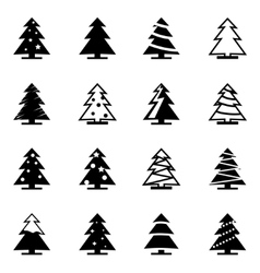 Black christmas tree icon set vector