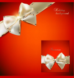 Elegant red background and Gift Card with ribbons vector image