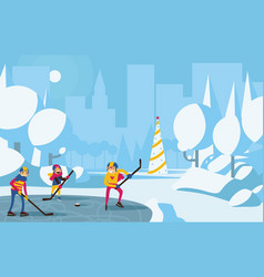 happy family playing hockey in park in the city vector image vector image
