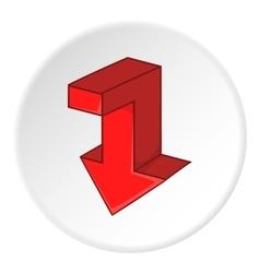 Red broken arrow down icon cartoon style vector image vector image