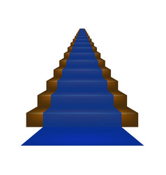 Stairs covered with blue carpet vector