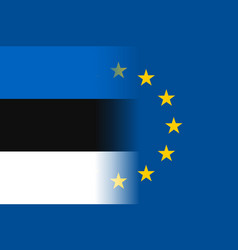 estonia national flag with a star circle of eu vector image vector image
