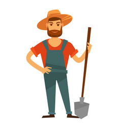 farmer man with spade in hat farm vector image