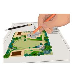 hand pencils general plan vector image