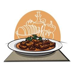 meat dish goulash vector image