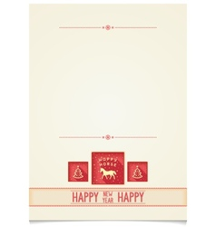 Vintage Template for New Year greetings vector image vector image