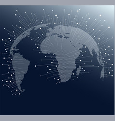 world map with dots and lines global network vector image vector image