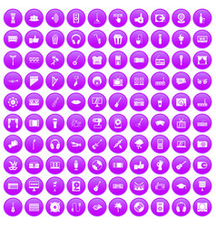 100 karaoke icons set purple vector