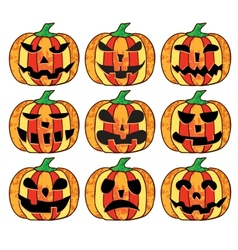 A set of halloween pumpkins vector image