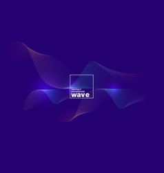 abstract wave shape on neon blue violet vector image