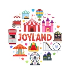 Amusement Park Round Design vector image