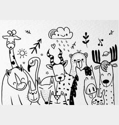 Animal cartoon set cute cartoon sketch animals vector
