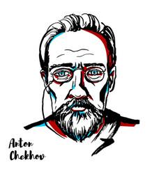 Anton chekhov portrait vector