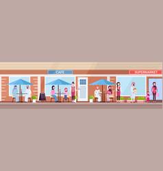 arabic people visitors sitting summer cafe shop vector image