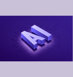 artificial intelligence ai isometric typographic vector image