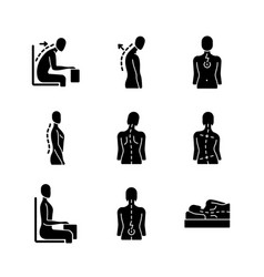 Back and posture problems black glyph icons set vector