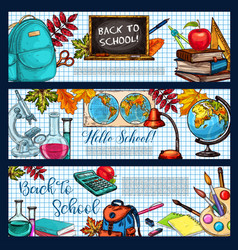 back to school stationery sketch banners vector image