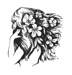 beautiful woman with flowers and long hairs vector image