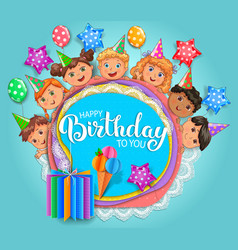 birthday fun card with cute kids vector image