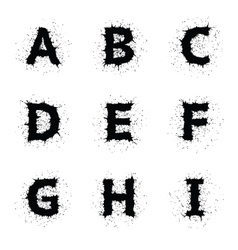 Black ink grunge alphabet vector