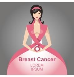Breast Cancer AwarenessBeautiful Woman portrait vector image