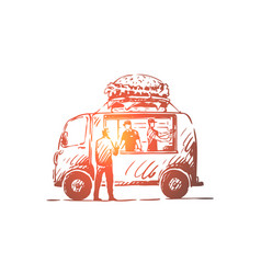 burger car fast food shop truck concept vector image
