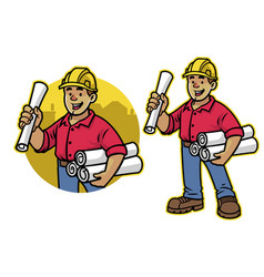 cartoon architech worker mascot vector image
